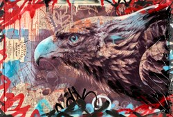 New York Eagle by Dan Pearce - Original Glazed Mixed Media on Board sized 46x31 inches. Available from Whitewall Galleries